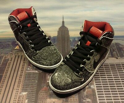 size 40 f35da c4368 Nike Dunk High Premium SB Salt Stain BlackRed Mens Size 7 Low Mid 313171