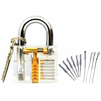 13pcs Lock Pick Set Clear Practice Padlock Opener Kit Locksmith Training Tools