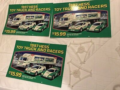 4 Different Three Sided Hess Truck Hanging Signs & 1999 Truck Display