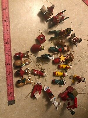 Vintage Miniature Wooden Ornaments Lot of 22 Angels Bears More
