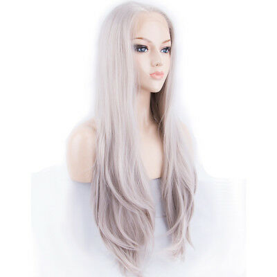 "AU 24"" Handtied Straight Lace Front Wig Light Grey Heat Resistant Hair"
