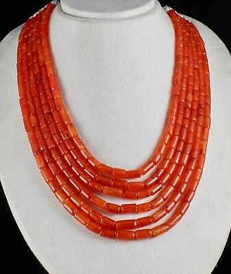 Natural Carnelian Beads Fancy Tube 6 Line 1017 Carats Gemstone Necklace