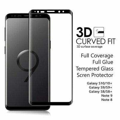 Samsung Galaxy S10 + S9 S8 + Note 9 8 Full Glue Tempered Glass Screen Protector