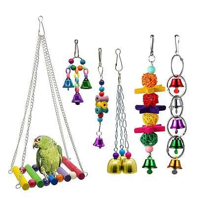 6pcs Parrot Toys Pets Bird Chew Bite Climb Swing Bells Hanging Cage Toy Pet Gift