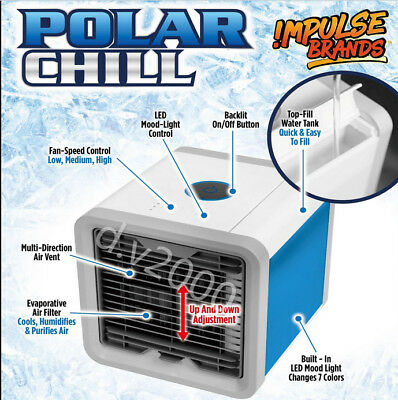 Chill Portable Air Cooler Conditioner NEW Cool Cooling For Bedroom Mini Fan USB