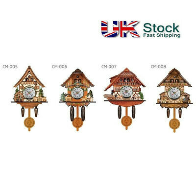 Antique Wooden Cuckoo Wall Alarm Clock Bird Time Bell Swing Watch Home Decor UK