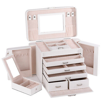 Large Jewellery Box Girls Rings Necklace Storage Organiser 3 Layers Display Case