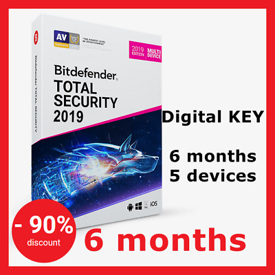 NEW! Bitdefender Total Security Multi-Device 2019: 6 months, 5 devices