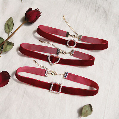 Womens Red Velvet Heart Pearl Necklace Statement Choker Chunky Jewellery Gifts