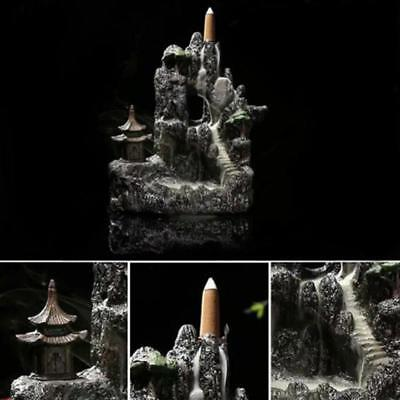 Resin Mountain Waterfall Smoke Backflow Incense Burner Cones Holder with 7 Cone
