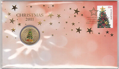 2011 - Coloured $1 Coin - Christmas Tree - with Plastic Cover