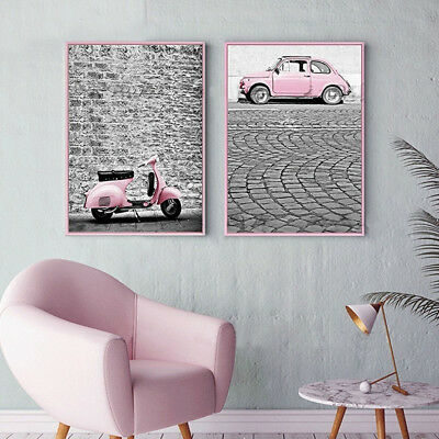 2 Piece Canvas Prints - Pink Vehicles Vintage Posters Home Decor Unframed