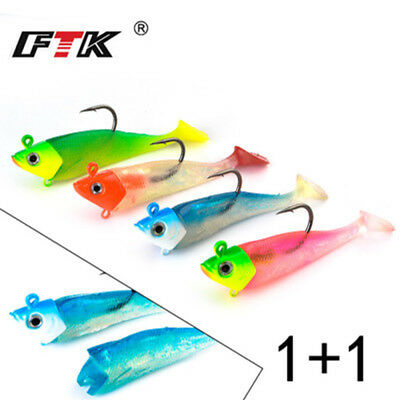 Shad Silicone  sea fly fishing worm  Lead Head hook Soft  bass Bait Minnow Lure