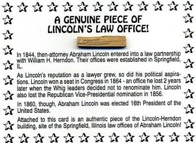 Historic Piece Of Wood From President Lincoln's Law Office RARE