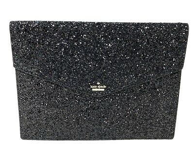 8fa33754cdb KATE SPADE MALLO Laurel Way Black Glitter Clutch Pouch WLRU5178 $169 ...