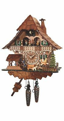 Quartz Cuckoo Clock Black forest house with music, moving sees.. EN 4965 QMT NEW
