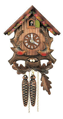 Cuckoo Clock Little black forest house, moving birds HH 65/15 V NEW