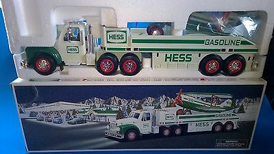 """2002 HESS Battery Operated """"TOY TRUCK & AIRPLANE"""" Lights Sound 14.25"""" New"""