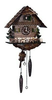 Quartz Cuckoo Clock Black Forest house with moving beer drinke.. SC Q 1104/9 NEW