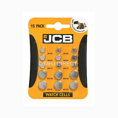 JCB AG1, AG3, AG4 AG12 AG13 Alkaline Watch Batteries [15 Mixed Pack] Use By 2020