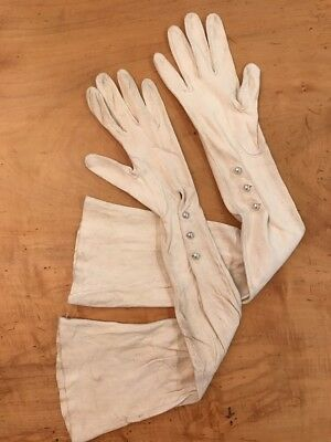 Vintage Long Elbow Length Gloves Washable Doeskin