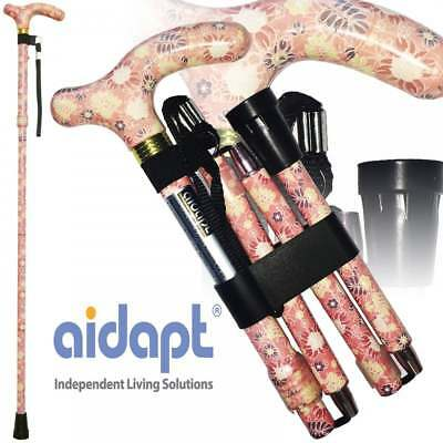 Folding & Extendable Patterned Walking Stick Pastel Floral Printemps - *QUALITY*