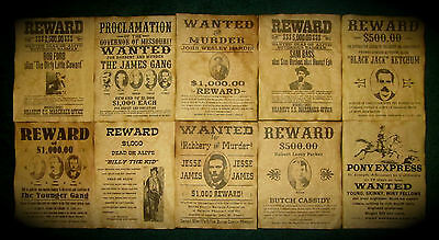 Jesse James Wanted Posters Old West Reward Posters Billy the Kid Pony Express 10