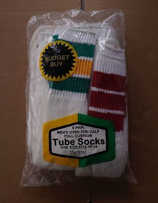 "Deadstock/Vintage STRIPED TUBE SOCKS (6 PAIRS) - SEARS ""Over The Calf"" 70s/80s"
