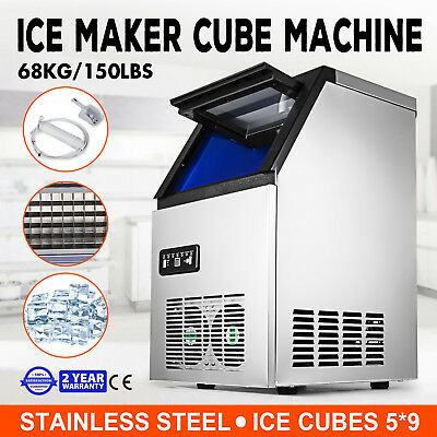 Ice Cube Making Machine Commercial 150lb/24h Ice Cube Maker Stainless Steel
