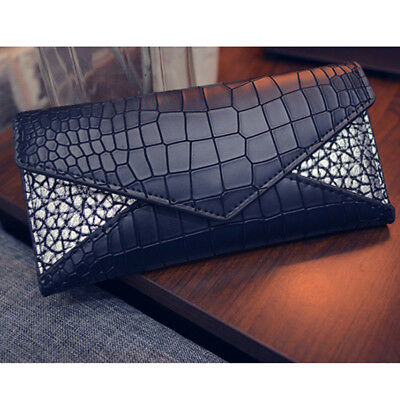 Women Girls Wallets Alligator Pattern PU Leather Casual Purses Coin Holder CB