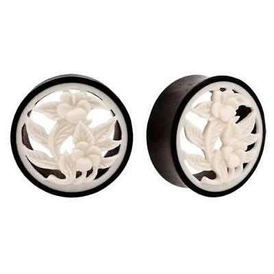 Pair of Organic Carved Horn & Bone Flower Hollow Double Flared Plugs