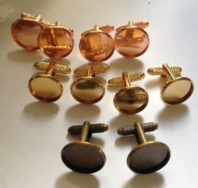 Mixed Lot 10 x Cuff Link Blanks (5 pairs)-25 x 16 mm-Rose/Rose Gold, 14 mm Gold