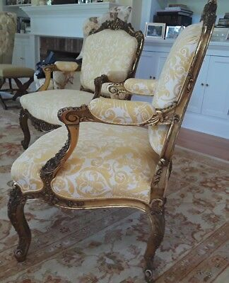 A SET OF FOUR SENSATIONAL French Louis XV Style (19th Cent) Gilt Armchairs