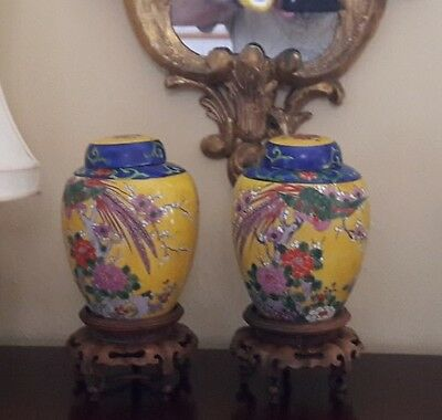 Pair of 19th C. ANTIQUE JAPANESE Yellow Covered Jars