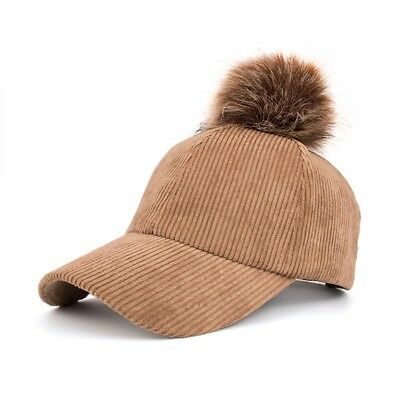 NEW Baseball Hat Pom Pom Faux Fur Corduroy for Women Snapback Girl Cap by AKIZON