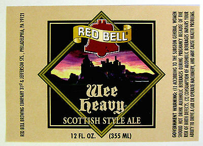 Red Bell Brewing WEE HEAVY  beer label PA 12oz Var #2 - No CRVs