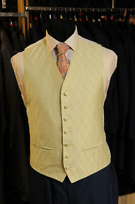 W - 1035 Pale Green Diamond Formal Wedding Waistcoat