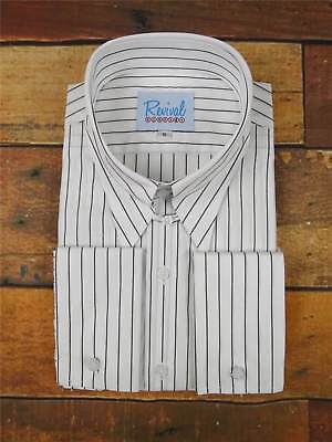 1940s Revival Vintage Spearpoint Collar Shirt with Black Pin Stripe Mens Shirt