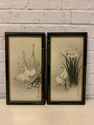 Vintage Antique Chinese or Japanese Signed Pair of Watercolor Paintings w/ Crane