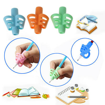 3Pcs Silicone Kids Pencil Holder Learn Writing Aid Grip Posture Correction Tool