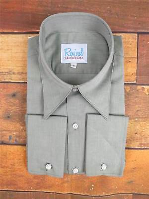 Mens Authentic 1930s 1940s Style Revival Vintage Spearpoint Collar Shirt Green