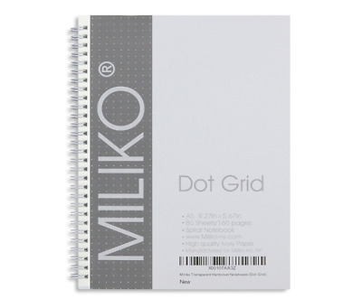 Miliko Transparent Hardcover A5 Size Spiral One Notebook (Dot Grid)