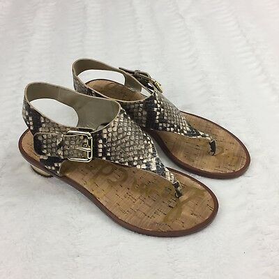 1facebf43300f Sam Edelman Womens Sandals Size 7.5 M Low Heel Snake Skin Print Ankle Strap