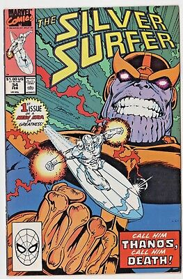 Silver Surfer 34 1990 vol.3 1st Print - Return of Thanos - NM Bag & Board