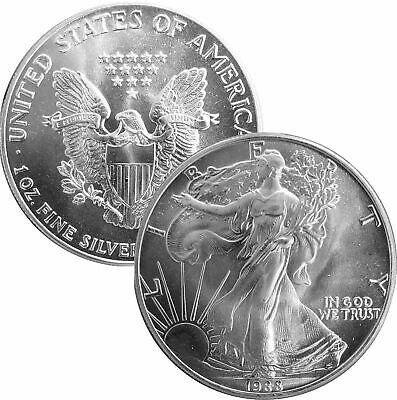 1988 Uncirculated BU 999 1 Oz Fine Silver One Dollar American Eagle Bullion Coin