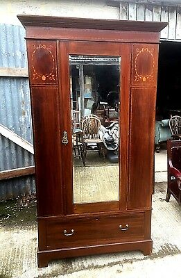 Edwardian Inlaid Mahogany Single Wardrobe