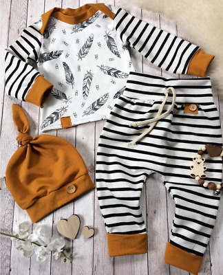 Baby Newborn Boy Girl Unisex Clothes Feather T Shirt Tops Striped Pants Outfit