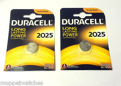 2 x CR2025 DURACELL GENUINE 3v LITHIUM BUTTON COIN CELL BATTERIES Expiry 2024