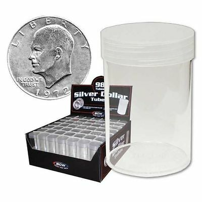 5 BCW Round Clear Plastic Large Silver Dollar 59.4 mm Coin Tubes w/ Screw-On Cap