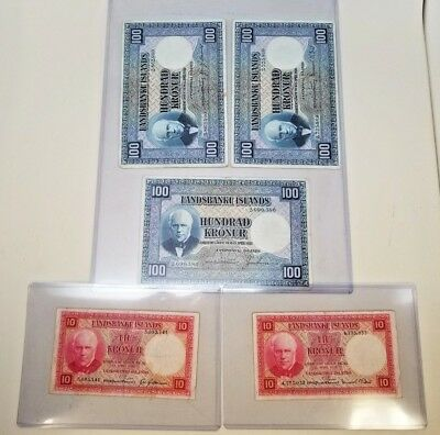 1929 - Bank Of Iceland - Money - Notes - Bills - Set Of 5